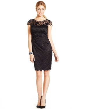 Eliza J Cap-Sleeve Illusion Lace Dress-ELIZA J-Fashionbarn shop