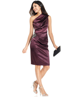 Eliza J One-Shoulder Beaded Satin Dress-ELIZA J-Fashionbarn shop