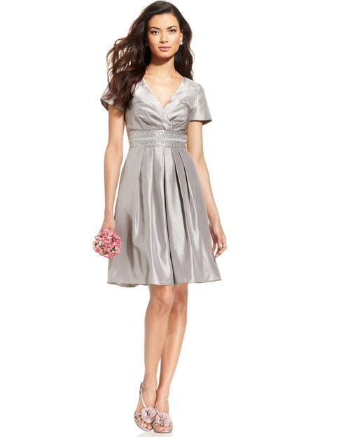 JS Boutique Beaded Pleated Faux-Wrap Dress-JS BOUTIQUE-Fashionbarn shop