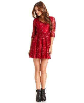 KENSIE THREE-QUARTER V-NECK MINI-DRESS-KENSIE-Fashionbarn shop