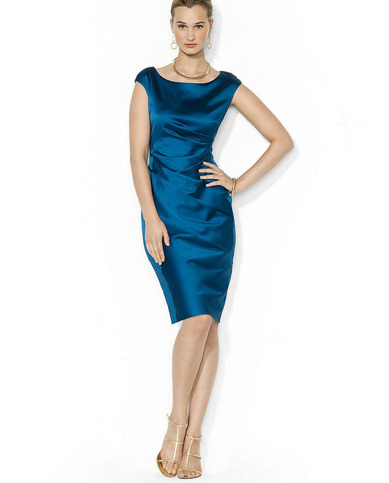 Lauren Ralph Lauren Cap-Sleeve Satin Sheath Dress-LAUREN RALPH LAUREN-Fashionbarn shop