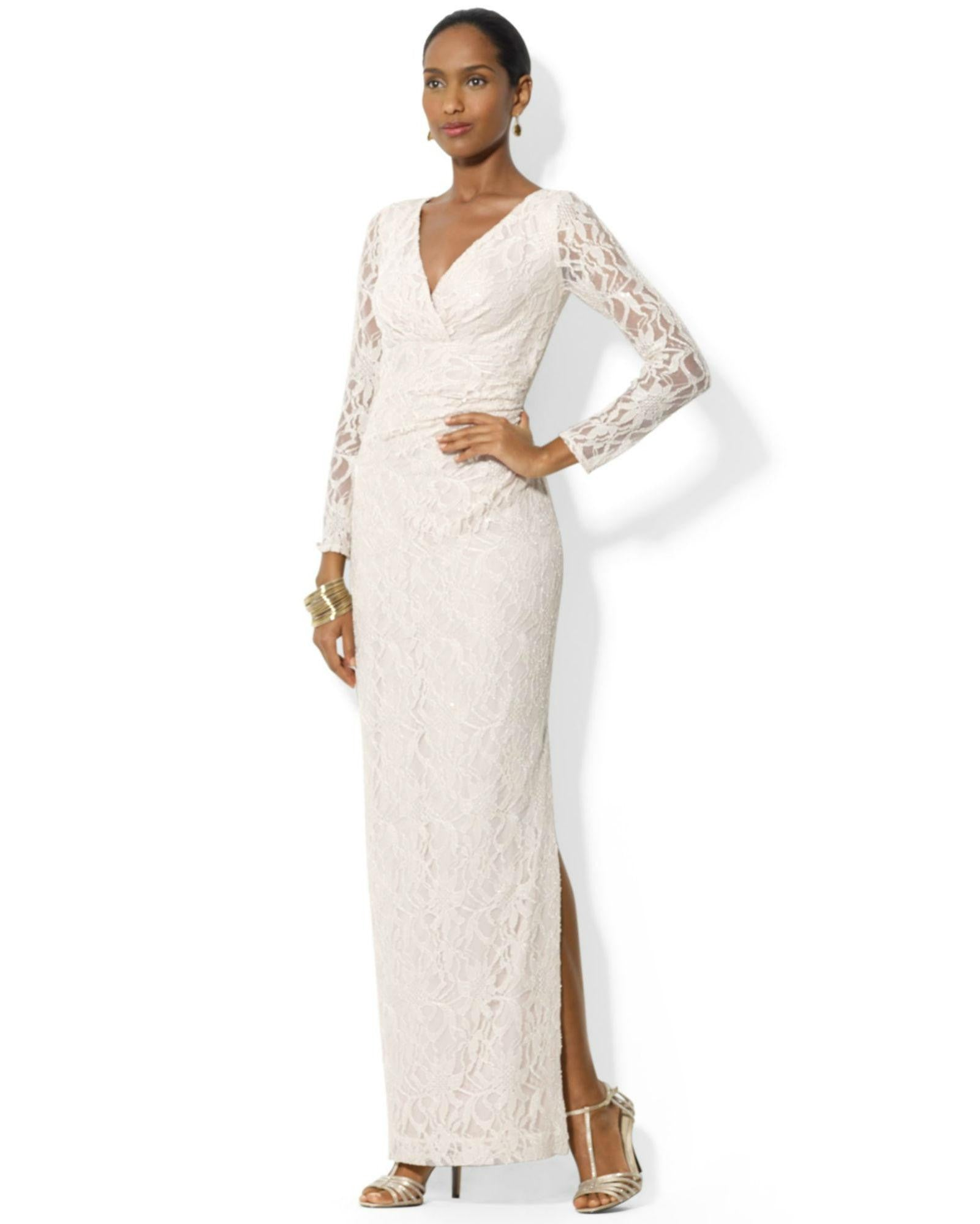 Lauren Ralph Lauren Petite Long-Sleeve Sequined Lace Gown