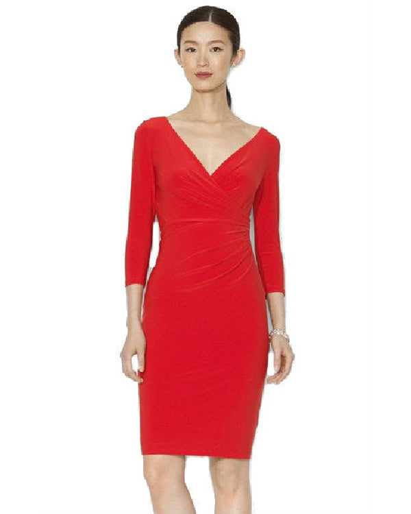 Lauren Ralph Lauren Surplice Matte Jersey Dress-LAUREN RALPH LAUREN-Fashionbarn shop