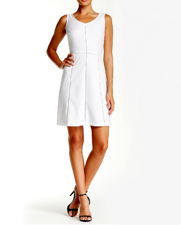 Marc New York Andrew Marc Sleeveless V-Neck Fit & Flare Dress-MARC NEW YORK by ANDREW MARC-Fashionbarn shop
