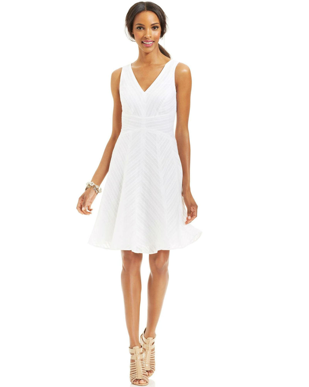 Nine West Embroidered Stripe Cotton Dress-NINE WEST-Fashionbarn shop