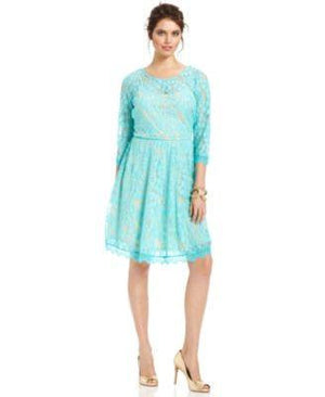 NY COLLECTION DRESS THREE-QUARTER-SLEEVE-NY COLLECTION-Fashionbarn shop