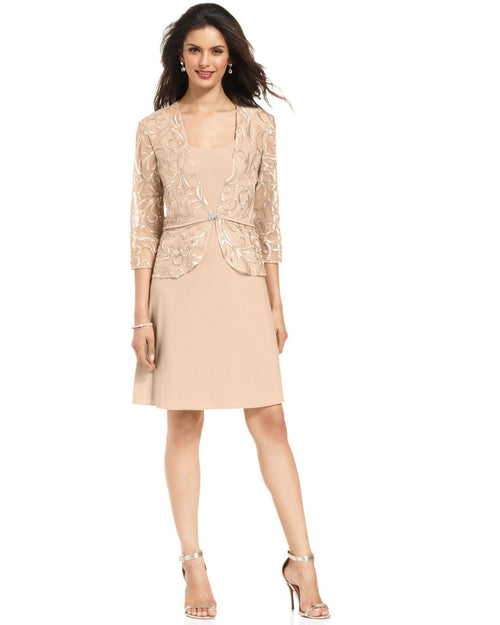 Patra Petite Sleeveless Embroidered Dress and Jacket-PATRA-Fashionbarn shop