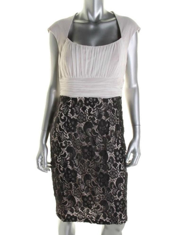 JAX Women's Lace Empire Waist Cocktail Sheath Dress Size 12-JAX-Fashionbarn shop