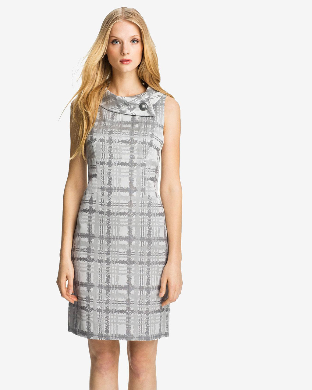 Tahari by ASL Dress, Sleeveless Plaid-Print Envelope-Collar Sheath-TAHARI BY ASL-Fashionbarn shop