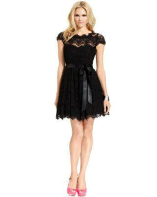 XSCAPE CAP SLEEVE LACE A-LINE DRESS BLACK-XSCAPE EVENINGS-Fashionbarn shop