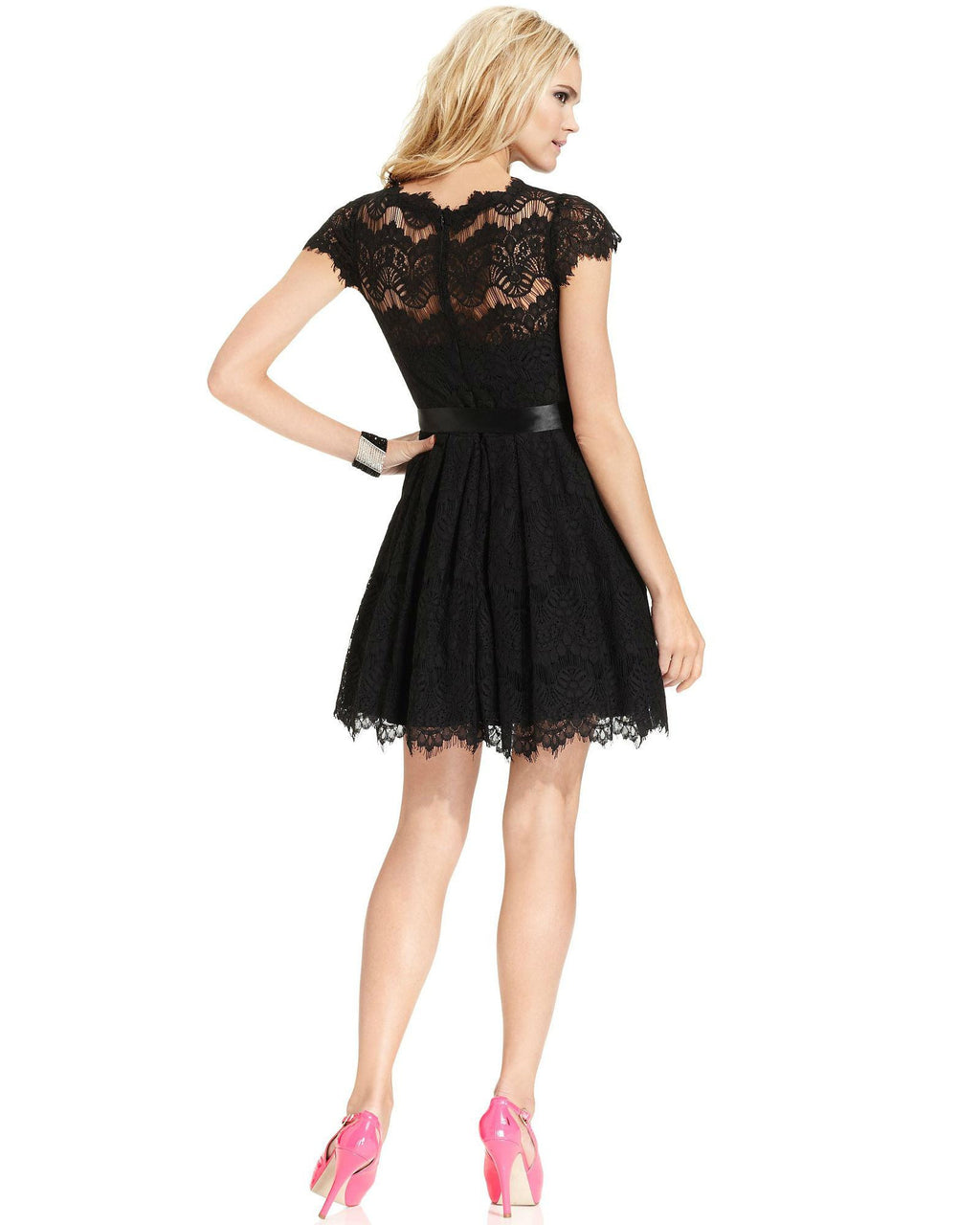 Xscape Cap-Sleeve Lace Dress-XSCAPE EVENINGS-Fashionbarn shop