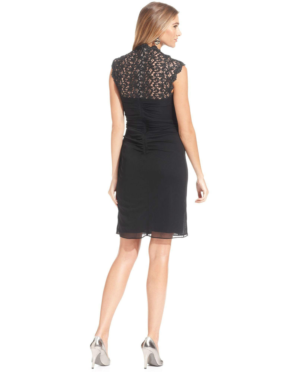 Xscape Cap -Sleeve Metallic Lace Dress-XSCAPE EVENINGS-Fashionbarn shop