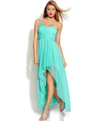 XSCAPE ONE-SHOULDER HIGH-LOW GOWN AQUA 8-XSCAPE EVENINGS-Fashionbarn shop