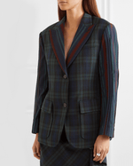 PushButton Paneled Tartan And Striped Wool-blend Blazer In Green