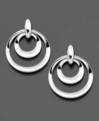 STERLING SILVER DOUBLE CIRCLE EARRINGS-JEZLAINE-Fashionbarn shop