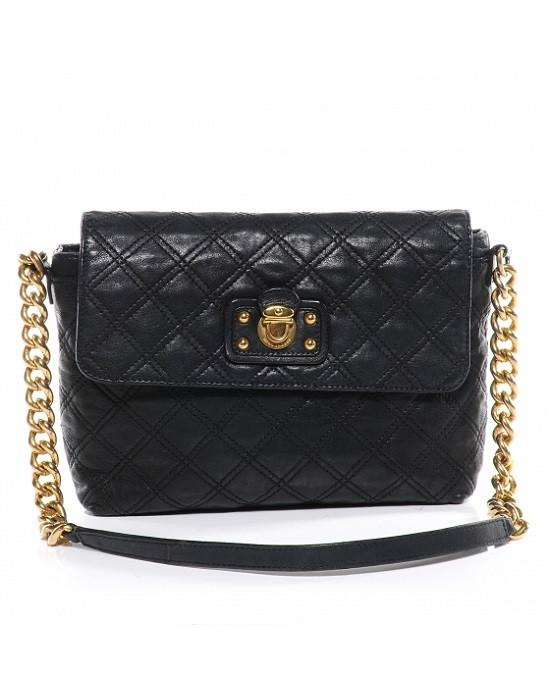 MARC JACOBS black quilted leather 'XL Single' shoulder bag