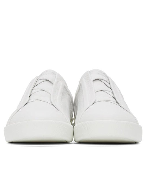 Ermenegildo Zegna White Triple Stitch Sneakers