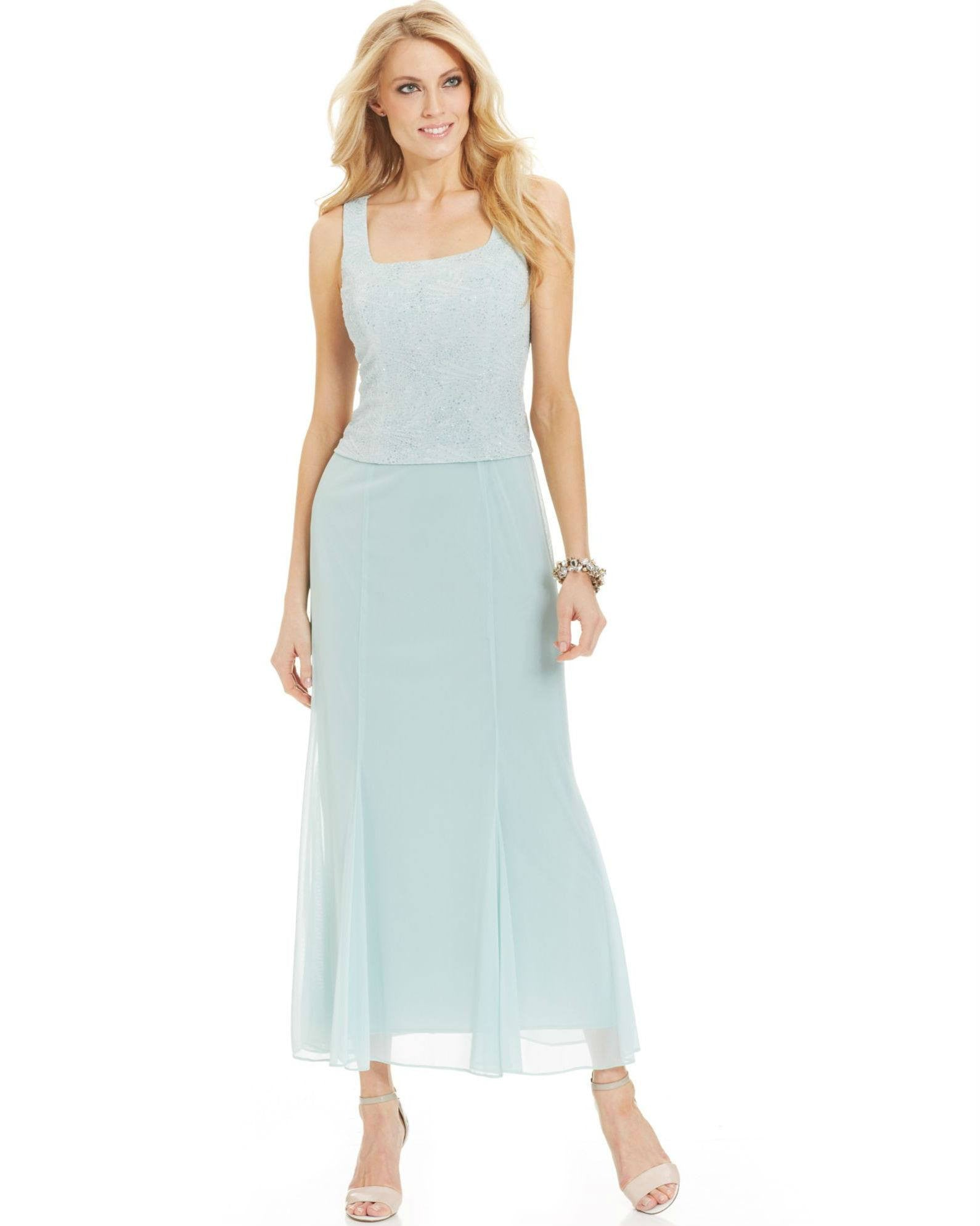Alex Evenings Blue Petite Sleeveless Glitter Gown And Jacket