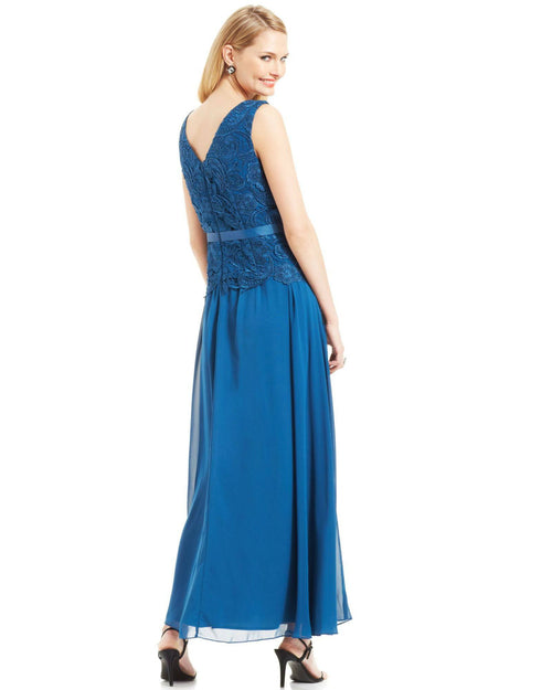 Alex Evenings Sleeveless Lace-Bodice Belted Gown-ALEX-Fashionbarn shop