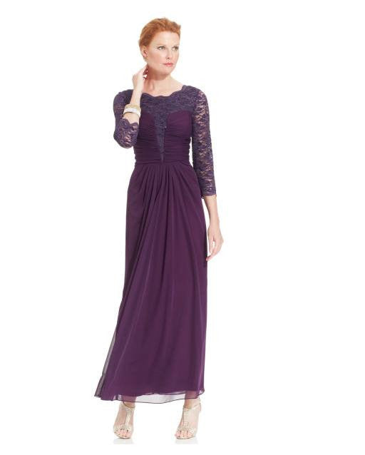 Alex Evenings Three-Quarter-Sleeve Glitter Lace Gown-ALEX-Fashionbarn shop