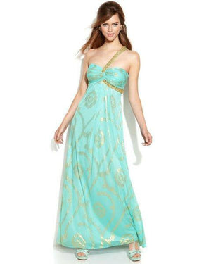 Betsy & Adam One-Shoulder Beaded Printed Gown-BETSY & ADAM-Fashionbarn shop