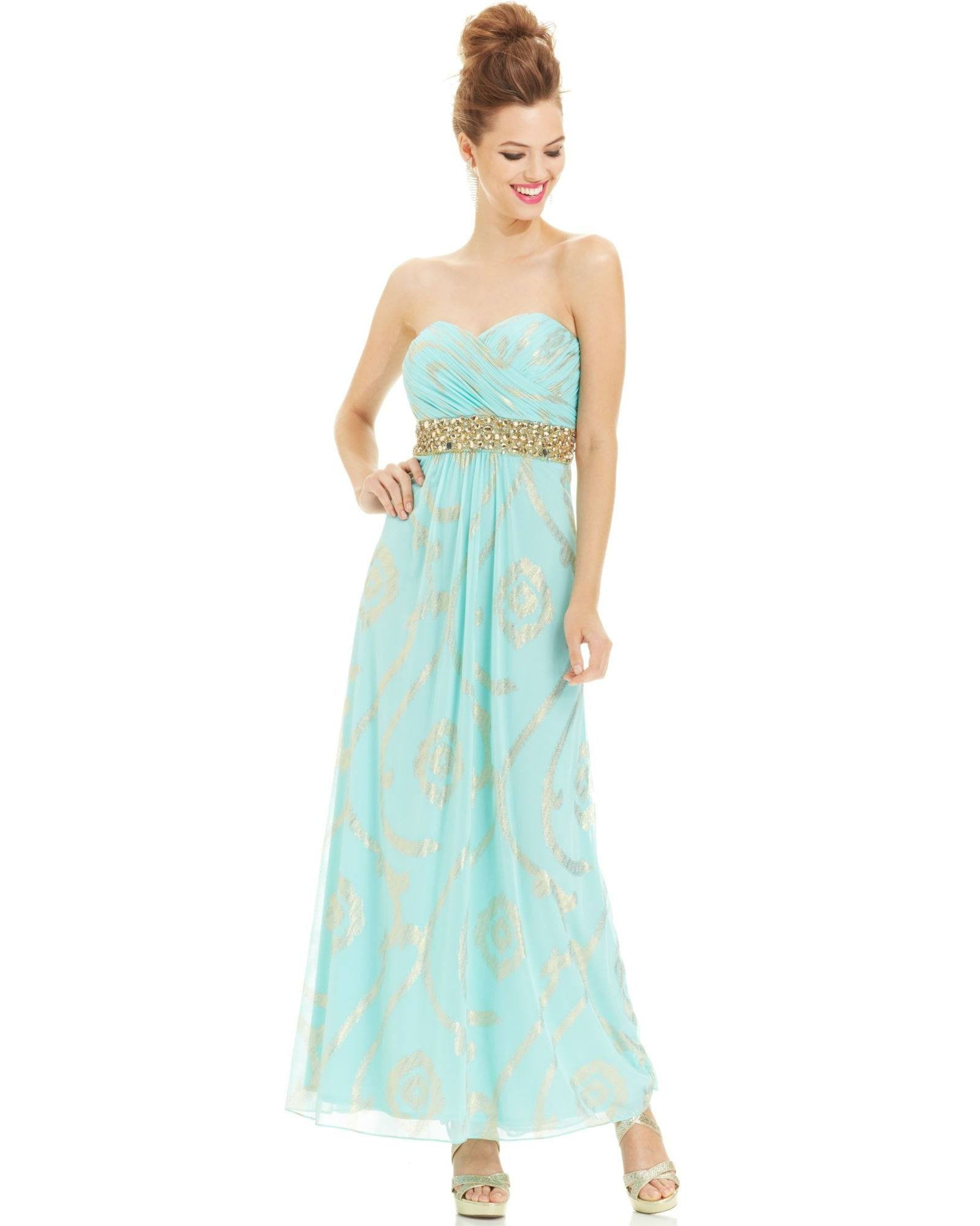 Betsy & Adam Petite Strapless Foil-Print Beaded Gown