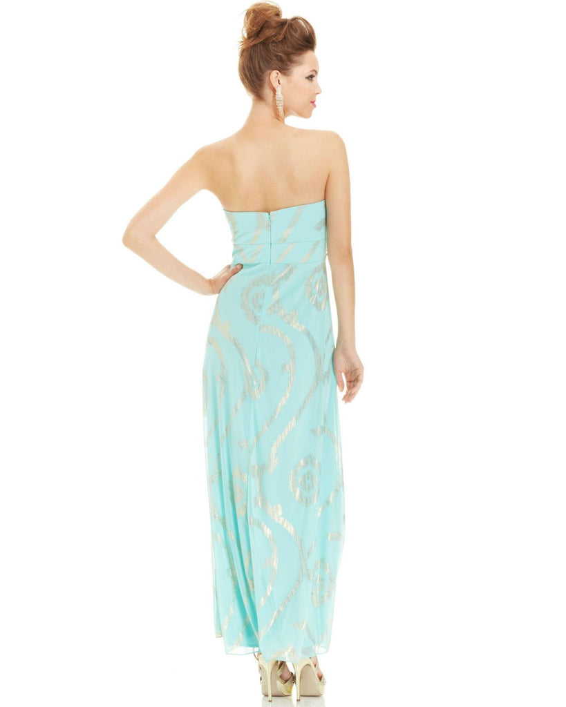 Betsy & Adam Petite Strapless Foil-Print Beaded Gown-BETSY & ADAM-Fashionbarn shop