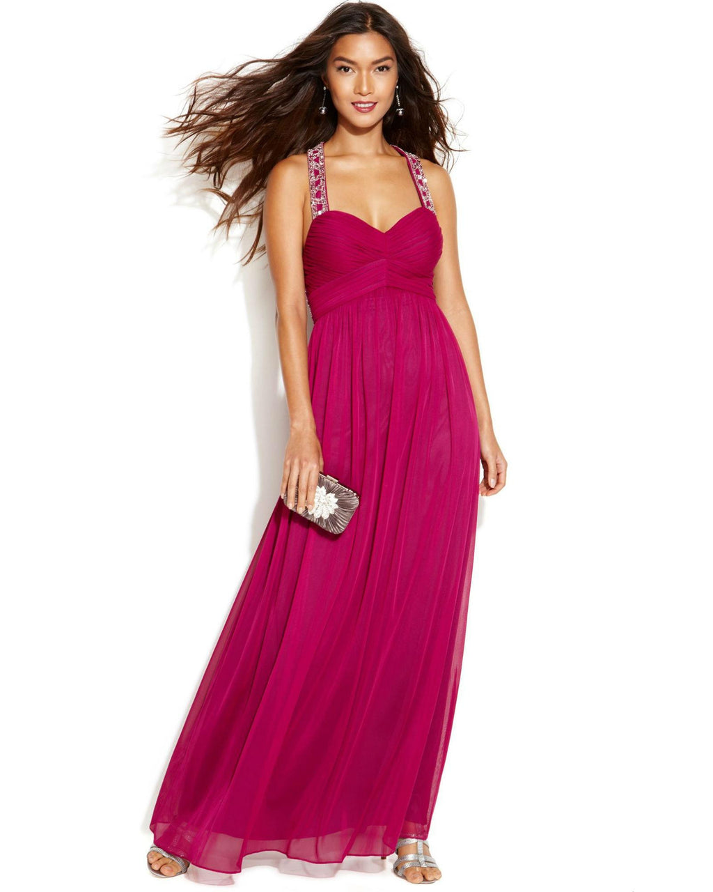 Betsy & Adam Sleeveless Pleated Beaded Gown-BETSY & ADAM-Fashionbarn shop