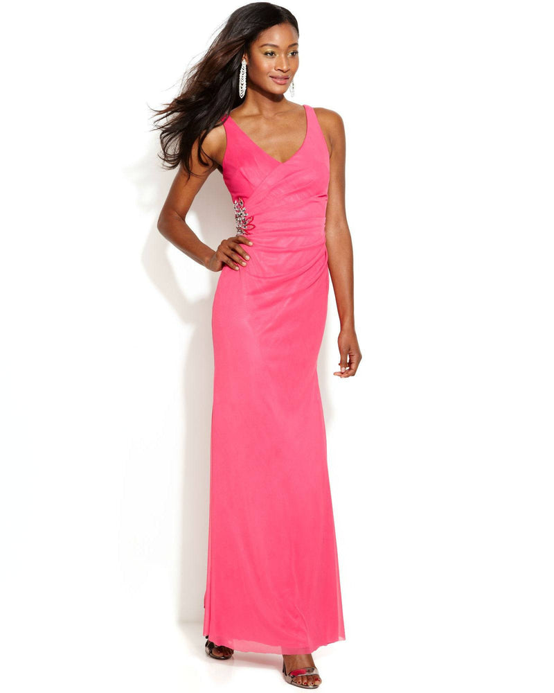 JS Boutique Sleeveless Embellished Faux-Wrap Gown-JS BOUTIQUE-Fashionbarn shop