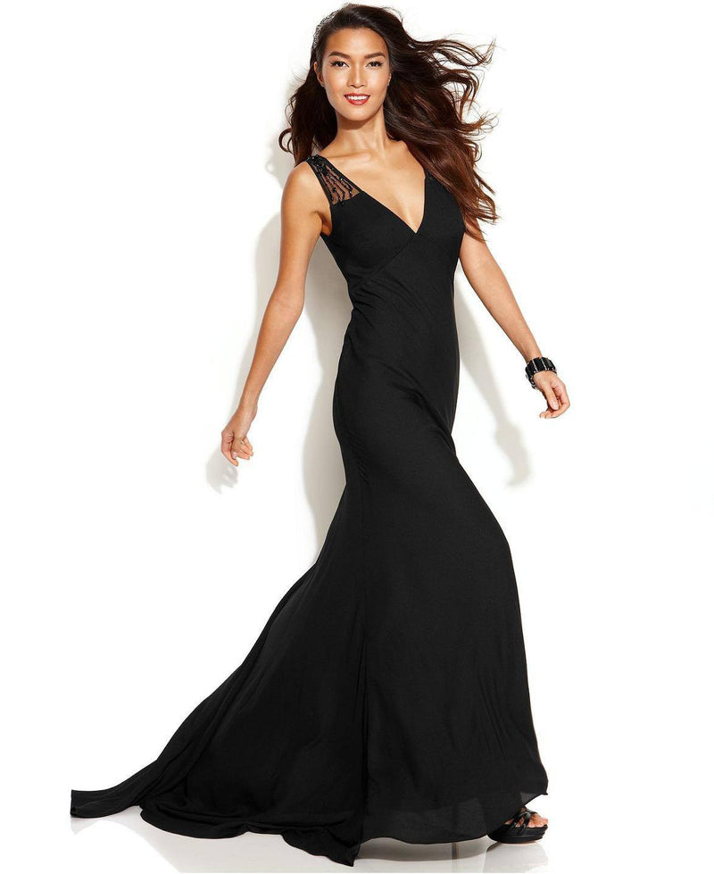 JS Collections Sleeveless Illusion Beaded Gown