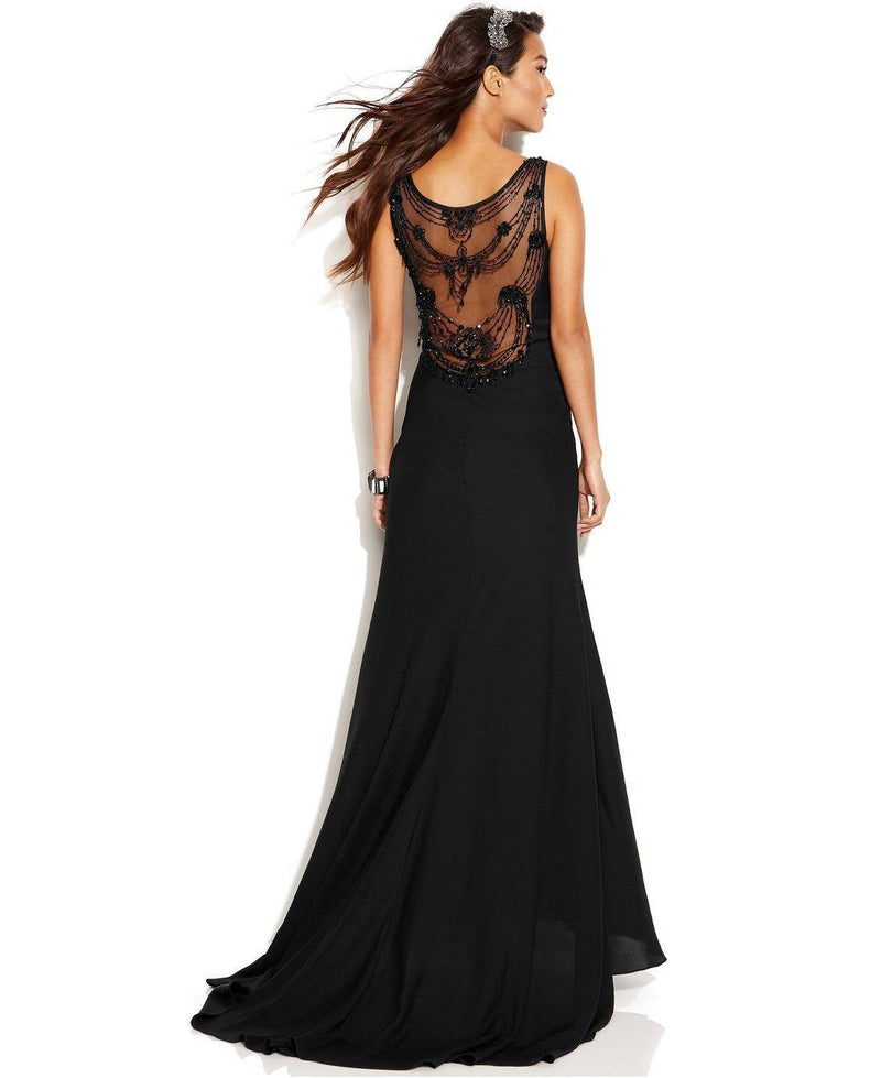 JS Collections Sleeveless Illusion Beaded Gown-JS COLLECTION-Fashionbarn shop
