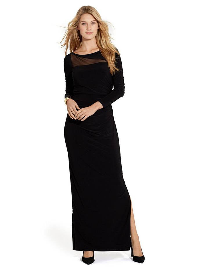 Lauren Ralph Lauren Long-Sleeve Sheer-Panel Gown-LAUREN RALPH LAUREN-Fashionbarn shop