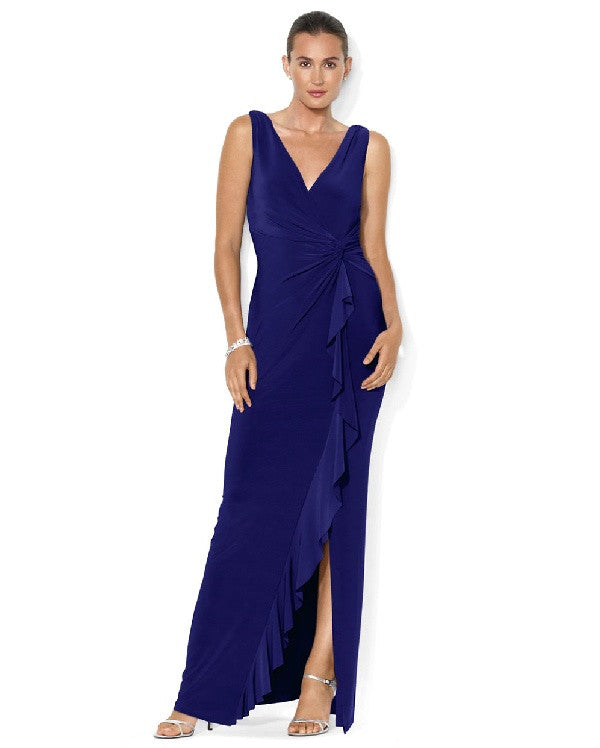 Lauren Ralph Lauren Sleeveless Draped Gown-LAUREN RALPH LAUREN-Fashionbarn shop