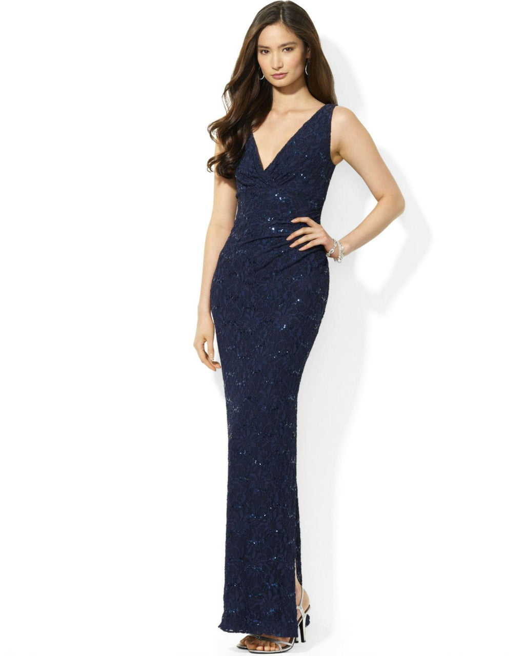 Lauren Ralph Lauren Sleeveless Sequined Lace Gown-LAUREN RALPH LAUREN-Fashionbarn shop