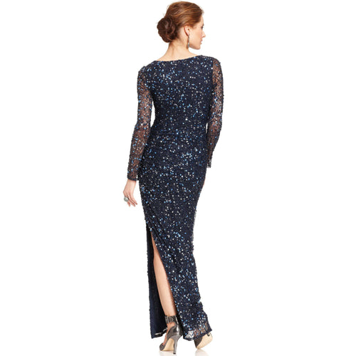 Patra Long-Sleeve Sequin Gown-PATRA-Fashionbarn shop