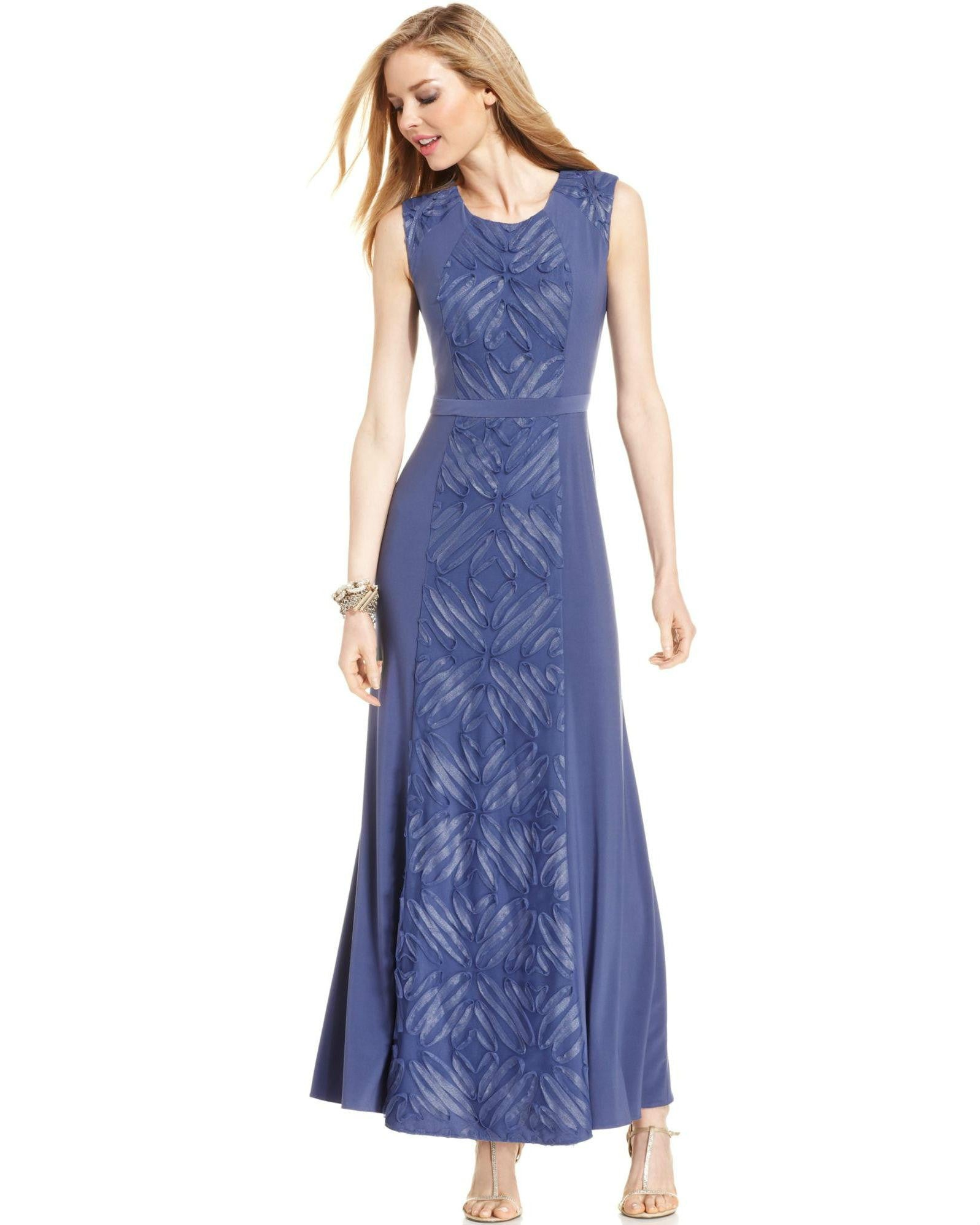 Patra Petite Sleeveless Soutache Panel Gown