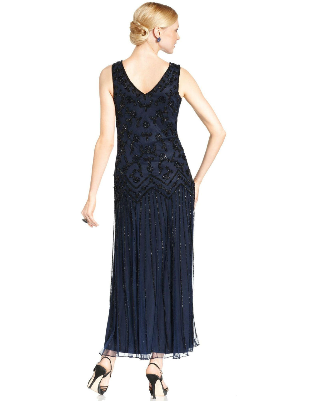 Pisarro Nights Sleeveless Beaded Sequin Gown-PISARRO NIGHTS-Fashionbarn shop