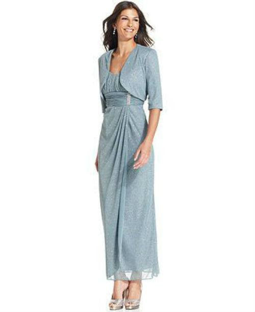 R&M Richards Sleeveless Glitter Faux-Wrap Gown and Jacket-R & M RICHARDS-Fashionbarn shop