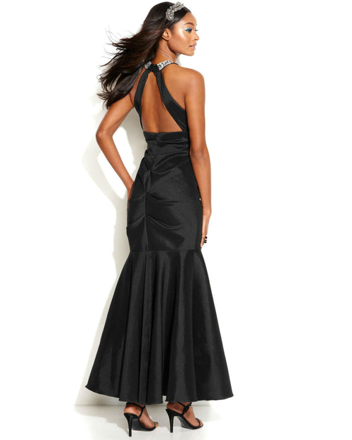Xscape Embellished Halter Mermaid Gown-XSCAPE EVENINGS-Fashionbarn shop