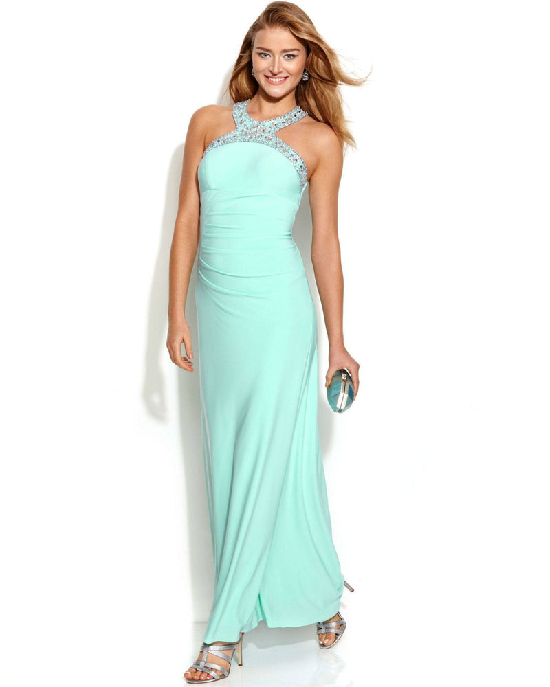Xscape Jewel-Trim Ruched Halter Gown-XSCAPE EVENINGS-Fashionbarn shop