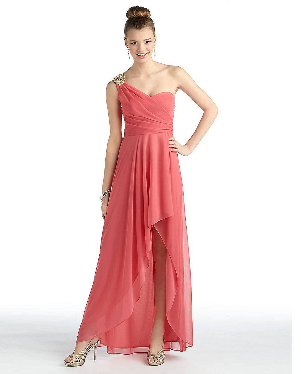 Xscape One-Shoulder High-Low Gown