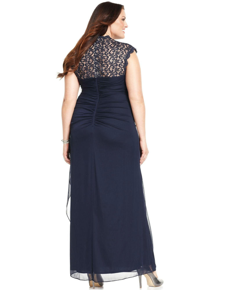 Xscape Plus Size Cap-Sleeve Lace Gown-XSCAPE EVENINGS-Fashionbarn shop