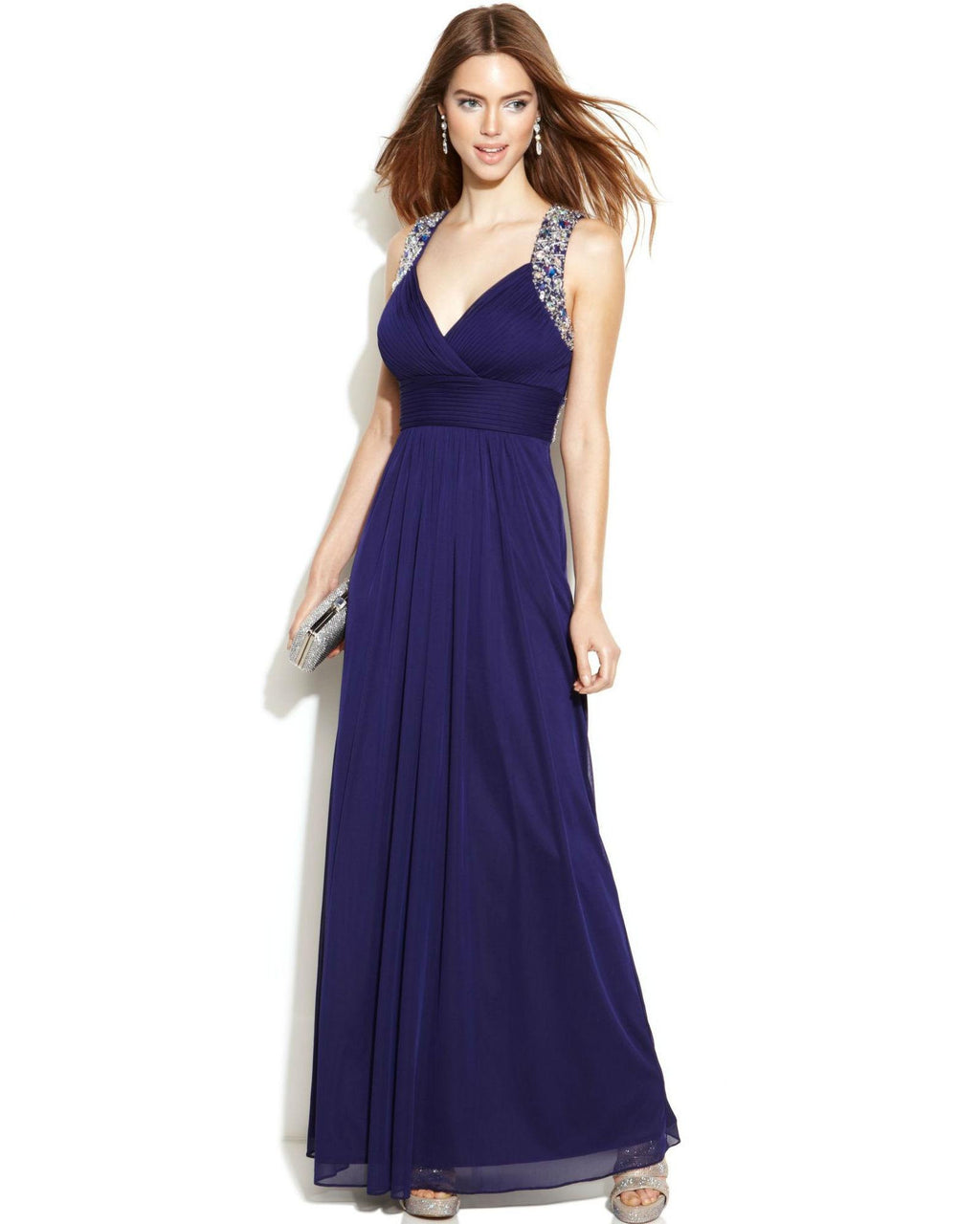 Xscape Sleeveless Jewel-Trim Racerback Gown-XSCAPE EVENINGS-Fashionbarn shop