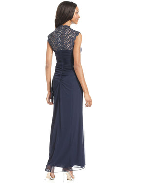 Xscape Sleeveless Metallic Lace Gown-XSCAPE EVENINGS-Fashionbarn shop