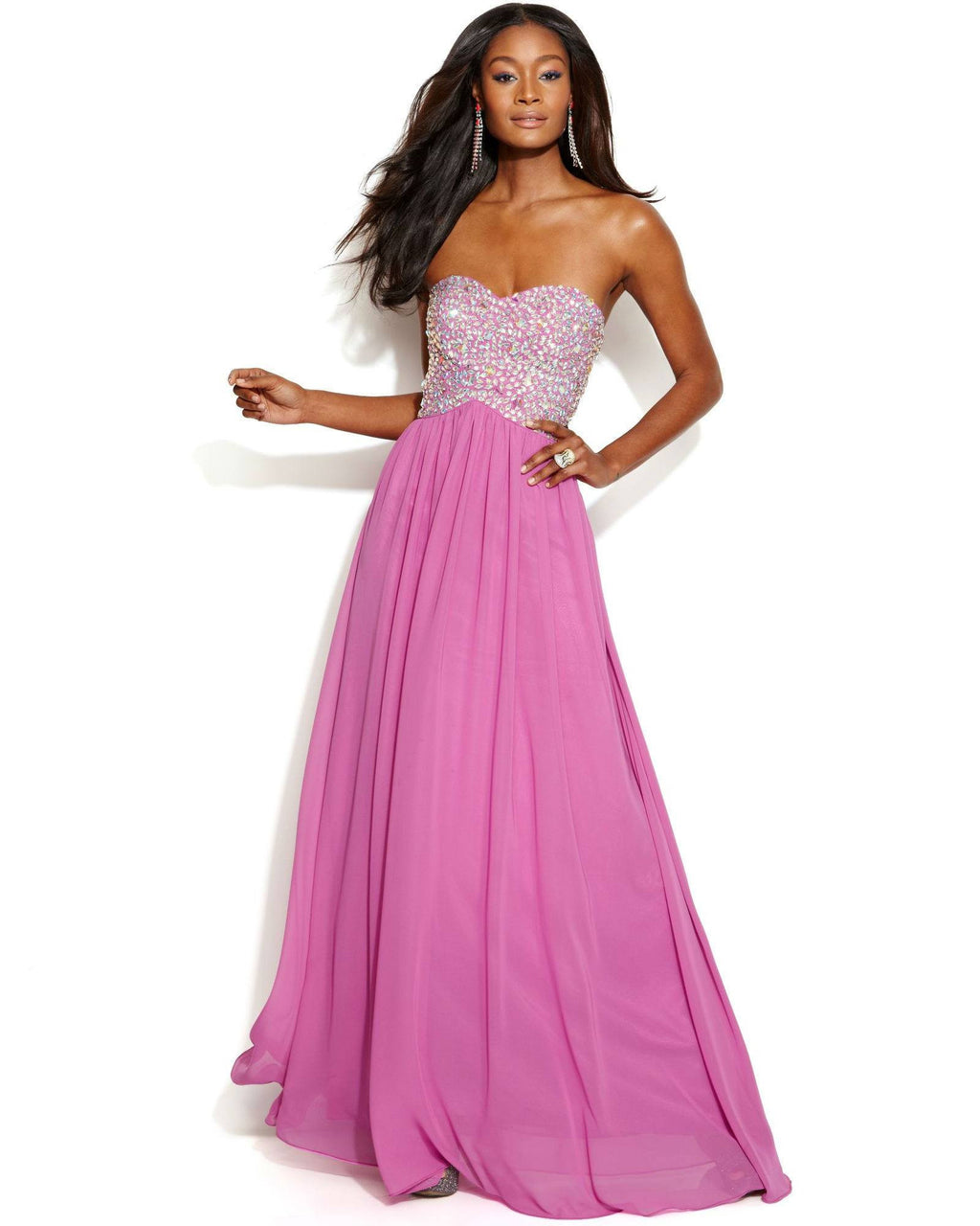 Xscape Strapless Embellished Bodice Cutout Gown-XSCAPE EVENINGS-Fashionbarn shop