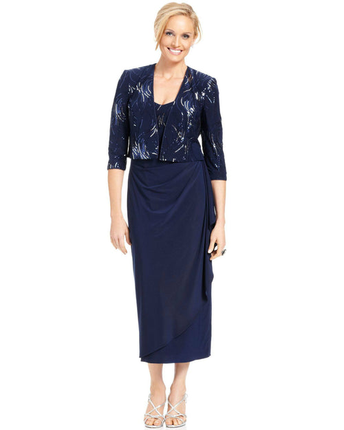 Alex Evenings Petite Sleeveless Sequin Faux-Wrap Dress and Jacket-ALEX-Fashionbarn shop