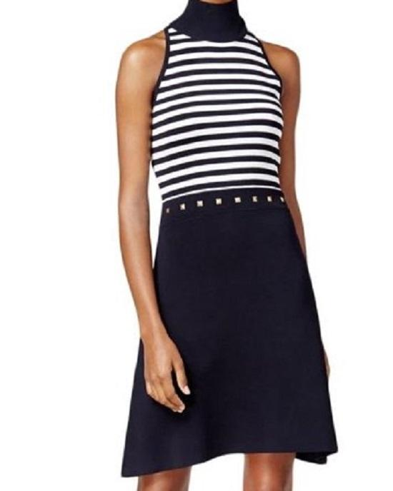 Michael Michael Kors New Navy Blue Striped Studded Sheath Dress