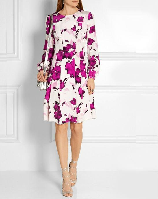 Oscar de la Renta Pleated floral-print silk dress