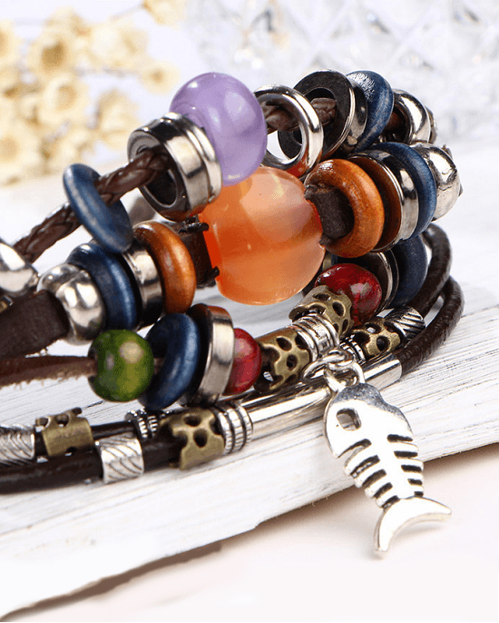 Steffe Unique Vintage Rope Handmade Colorful Bead Leather Bracelets
