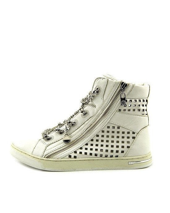 Michael Kors Urban Chain White High Top Side Zip Chain Sneakers-MICHAEL MICHAEL KORS-Fashionbarn shop